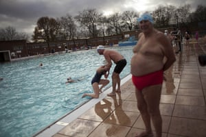 from the agencies: annual outdoor December Dip swim at Parliament Hill Lido on Hampstead Heath