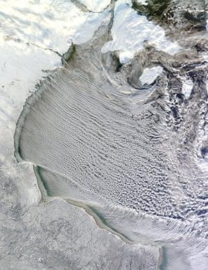 Satellite Eye on Earth: Cloud streets in Hudson Bay, Canada