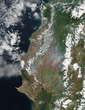 Satellite Eye on Earth: Fires in the coastal province of Santa Elena, Ecuador