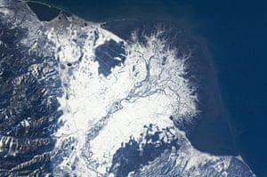 Satellite Eye on Earth: Selenga River Delta which is built out into Lake Baikal in Russi