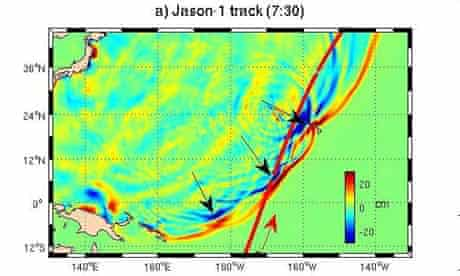 Graphics of the Japan tsunami produced by Nasa showing how two waves merged into one