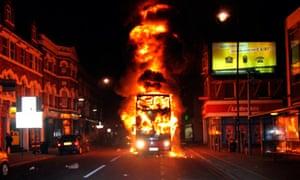 A bus burning in Tottenham