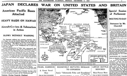 Guardian report on Japanese attack on Pearl Harbor, 7 December 1941