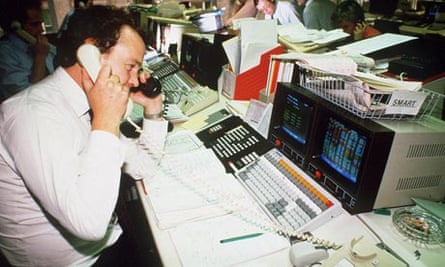 Stockbroker with new computer equipment for use in big bang, 1986