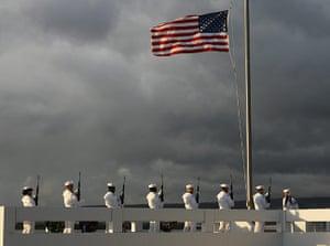 Pearl Harbor memorial: 21-gun salute at Pearl Harbor