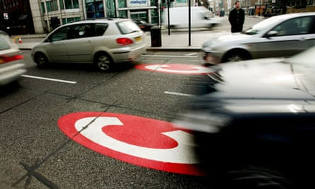 Congestion charge road markings in London