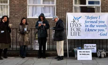 Anti-abortion campaigners picketing a Marie Stopes family planning clinic