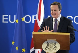 European Union Summit: David Cameron speaks during a news conference