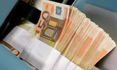 Fifty-euro notes at the Belgian Central Bank in Brussels