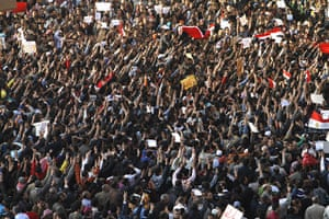 Egypt protests: Egyptian demonstrators gather in Tahrir Square