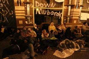 Egypt protests: Egyptians spend the night in Cairo's Tahrir Square
