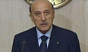 Egyptian vice-president Omar Suleiman addresses his country on al-Masriya state TV