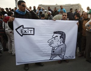 Egypt placards: Protesters hold a banner during a demonstration in Cairo