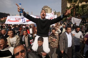 Egypt protests: A protester gestures during an anti-Mubarak protest in Cairo