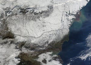 Satellite Eye on Earth: The first snowfall across Central Europe, valley of Danube