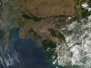 Satellite Eye on Earth: Dozens of fires burning in Indochina, especially in western Cambodia