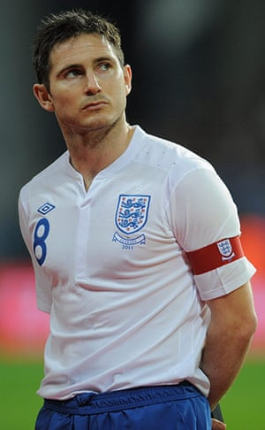 Denmark v England: Frank Lampard looks a bit nervous as he captains England for the first time