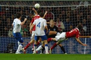 Denmark v England: Denmark's Daniel Agger opens the scoring against England