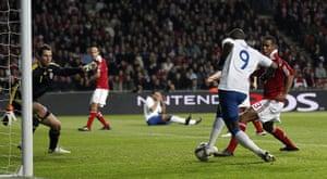 Denmark v England: Darren Bent scores for England