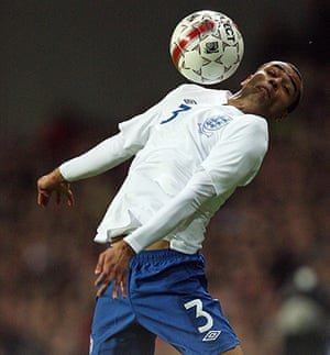Denmark v England: Ashley Cole chests the ball down