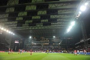 Denmark v England: General view of Denmark v England match at the Parken Stadion