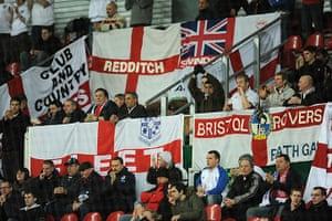 Denmark v England: England fans in the Parken Stadion for the game against Denmark