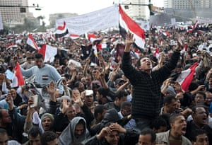 Egypt day 17: Egyptian anti-government protesters shout slogans against Mubarak