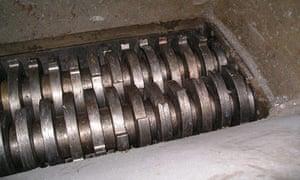 ID register shredded: Inside shredding machine