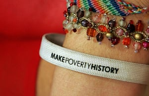 """War on Want: A """"Make Poverty History"""" wristband"""