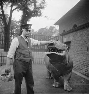 E.O. Hoppé: Zookeeper Ernie Bowman and Hippopotamus, Joan, London, 1934