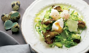 Yotam Ottolenghi's raw brussels sprouts with oyster mushrooms and quail eggs