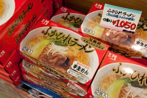 Shark fishing: packets of shark fin noodle soup on sale at the fish market in Kesennuma