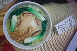 Shark fishing: plastic replica of shark fin ramen noodles