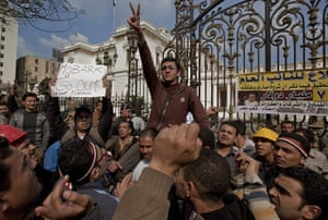 Sean Smith in Cairo: Anti-government protesters outside the Eygptian parliament Cairo