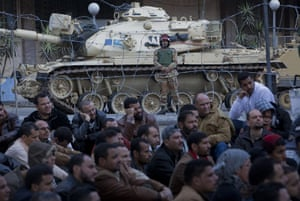 Sean Smith in Cairo: Protesters and soldiers outside the Egyptian State TV centre