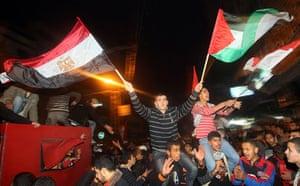 Egypt reaction: Palestinians celebrate in Gaza City on F