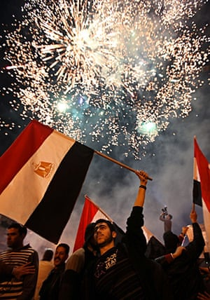 Egypt reaction: An Egyptian man carries his national flag in Beirut