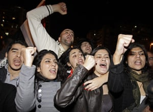 Egypt reaction: Lebanese and Egyptians celebrate outside the Egyptian embassy in Beirut