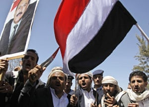 Arab unrest: Government supporters during a rally  in Sanaa,Yemen