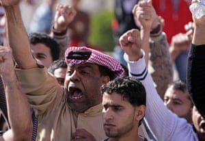 Arab unrest: Diraz, Bahrain: Demonstrators shout slogans against the government