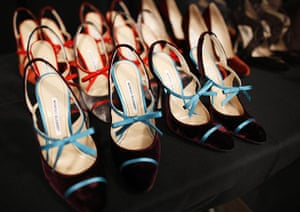 New York Fashion Week: Manolo Blahnik shoes are lined up backstage