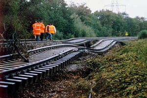 Floods 2000: RAILWAY LINES NEAR EXETER WASHED AWAY IN STORM , BRITAIN