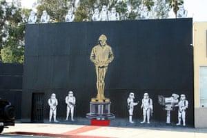 Banksy in LA: Banksy Oscar stormtroopers at Mr Brainwash Studio, Los Angeles, California