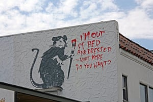Banksy in LA: Banksy rat stencil I'm Out Of Bed, What More Do You Want? in Los Angeles