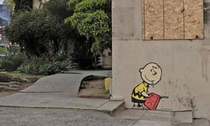 Banksy's Charlie Brown on a burnt-out building in Los Angeles