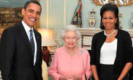 The Obamas with the Queen at Buckingham Palace during a non-state visit in April 2009