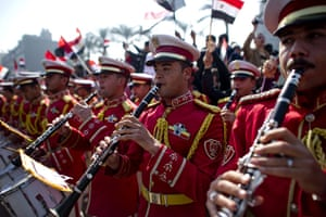Egypt Demonstrations: An Egyptian army band play in Tahrir square, Cairo, Egypt