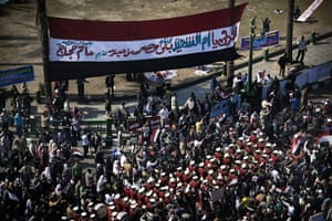 Egypt Demonstrations: A military band marches in Tahrir square, Cairo, Egypt