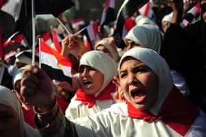 Egypt Demonstrations: Egyptian women shout slogans in Tahrir square, Cairo, Egypt