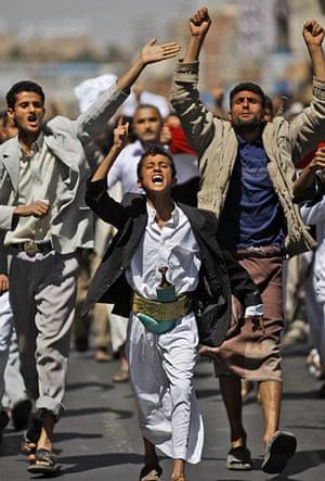 Yemen Protests: Yemeni anti-government demonstrators chant slogans